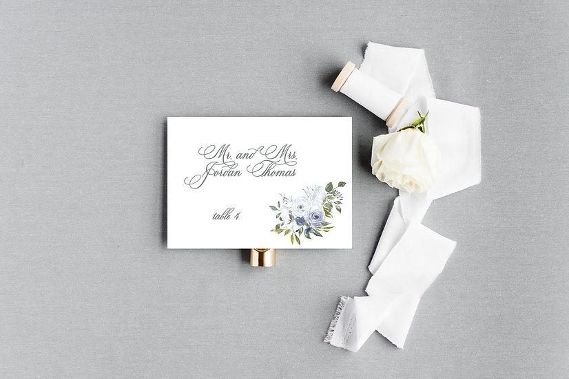 Blue Gray Navy Watercolor Painted Floral Escort Cards Place Cards