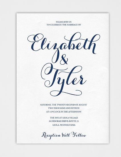 Classic Wedding Invitation, Calligraphy Wedding Invitation, Elegant Wedding Invitation