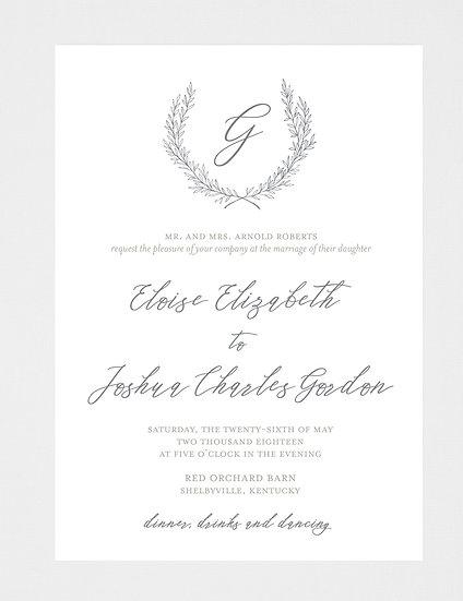 Wreath Wedding Invitation, Wreath Crest Wedding Invitation, Wreath Monogram Wedding Invitation, Wedding Crest