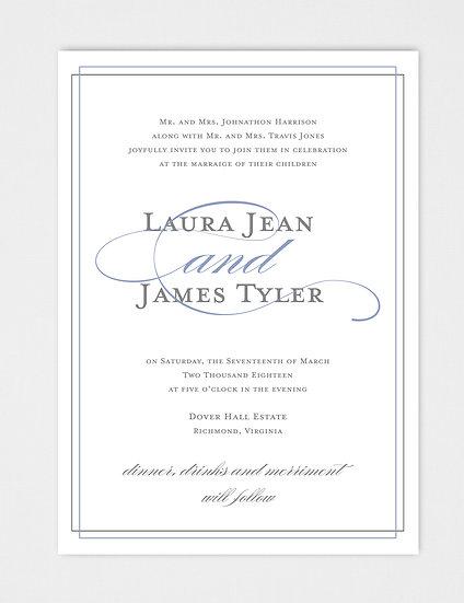 Elegant Wedding Invitation, Modern Wedding Invitation, Calligraphy Wedding Invitation