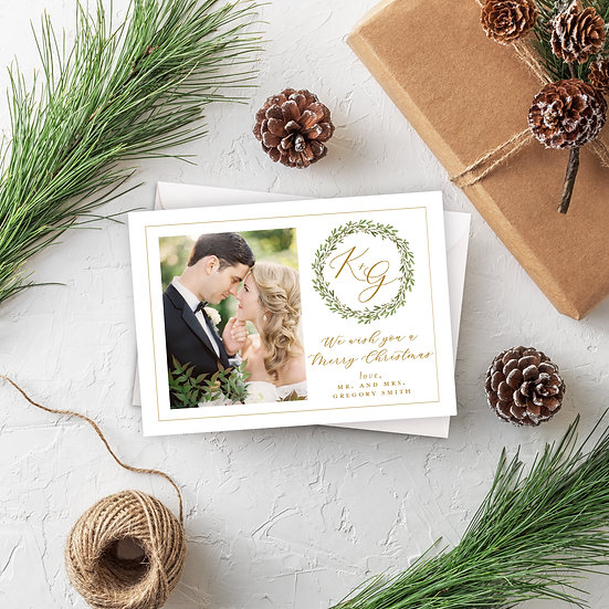 Gold & Greenery Holiday Photo Card