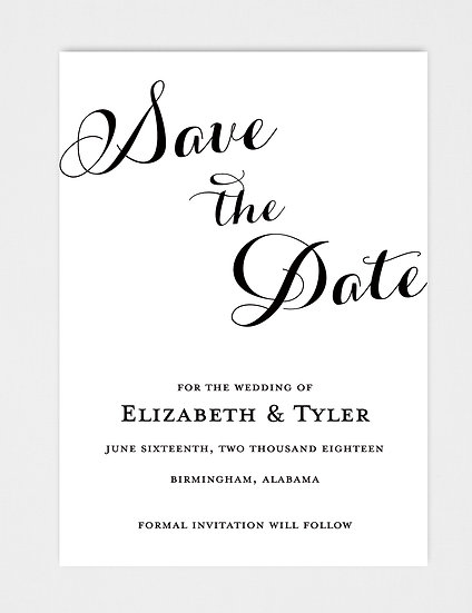 Classic Elegant Modern Calligraphy Save the Date