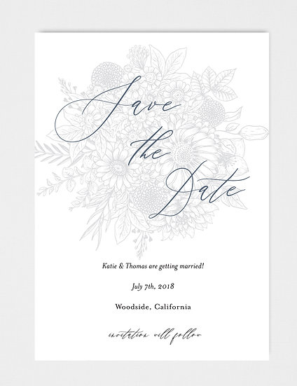 Hand Drawn Sketched Floral Save the Date
