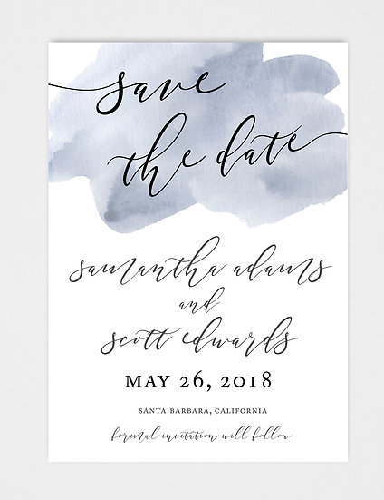 Blue Slate Blue Gray Blue Watercolor Save the Date