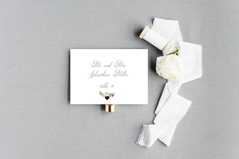 Blush Burgundy Marsala Watercolor Floral Escort Cards Place Cards
