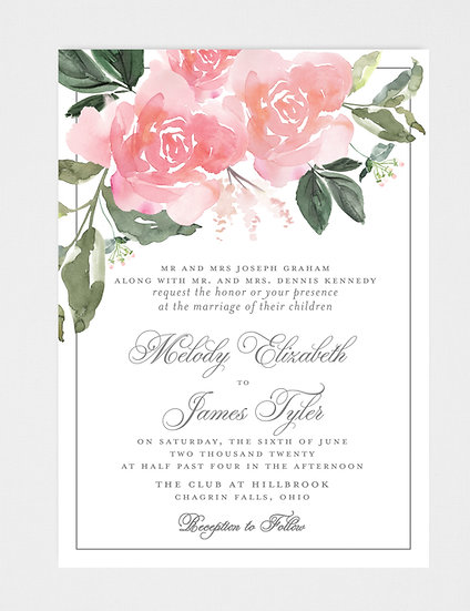 Blush Pink Floral Wedding Invitation, Pink Floral Wedding Invitation, Watercolor Floral Wedding Invitation