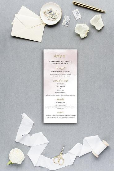 Pink Blush Pink and Gold Watercolor Dinner Menu Reception Menu Wedding Menu