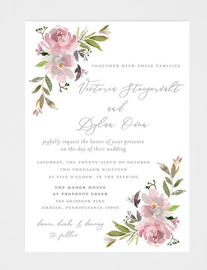 Mauve Floral Wedding Invitation, Mauve Wedding Invitation, Watercolor Floral Wedding Invitation, Purple Watercolor Flowers