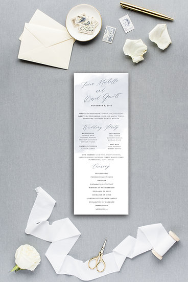 Slate Blue Gray Blue Watercolor Ceremony Program Wedding Program
