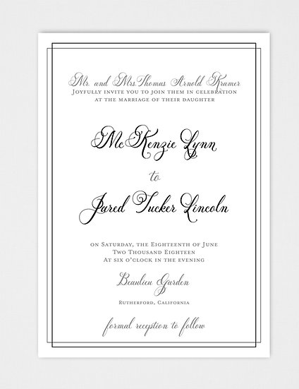 Calligraphy Wedding Invitation, Formal Wedding Invitation, Modern Wedding Invitation, Elegant Wedding Invitation