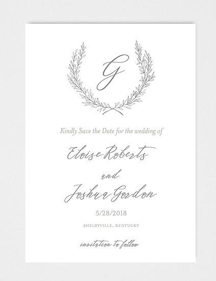 Wedding Monogram Wedding Crest Floral Crest Laurel Wreath Save the Date