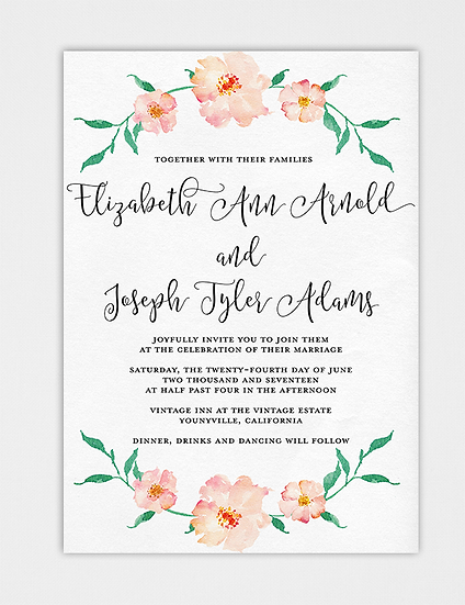 Floral Wedding Invitation, Watercolor Floral Wedding Invitation, Painted Wedding Invitation