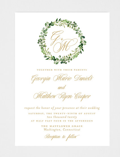 Gold Wedding Invitation, Gold Greenery Wedding Invitation, Greenery Wedding Invitation