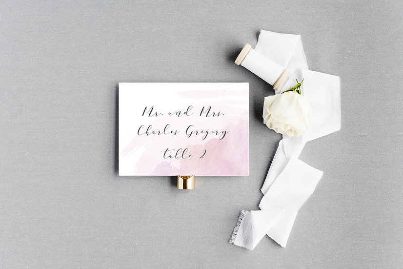 Pink Watercolor Escort Cards Place Cards