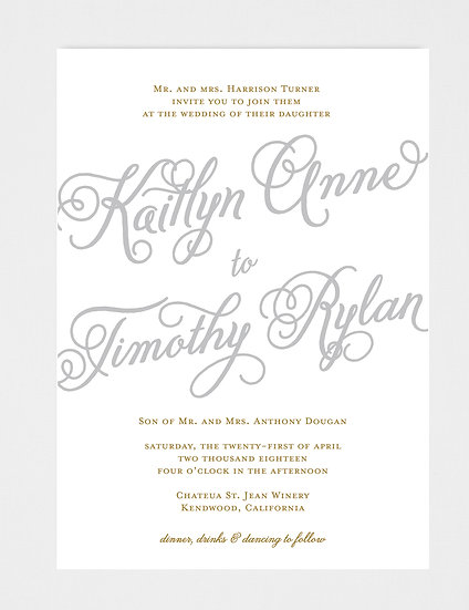 Gold and Gray Wedding Invitation, Gold Wedding Invitation, Gray Wedding Invitation, Calligraphy Wedding Invitation
