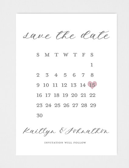 Modern Calligraphy Modern Calendar Save the Date