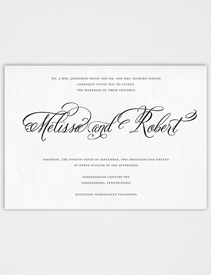 Wedding Invitation, Calligraphy Wedding Invitation, Classic Wedding Invitation, Elegant Wedding Invitation, Formal