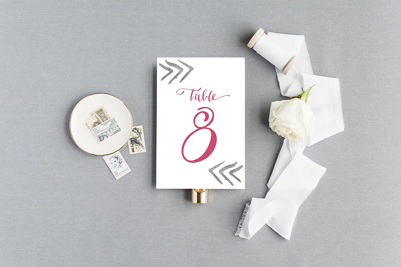 Pink and Gray Watercolor Table Numbers