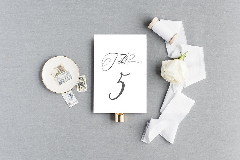 Elegant Simple Classic Calligraphy Table Numbers