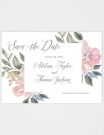 Tropical Pink Floral Save the Date