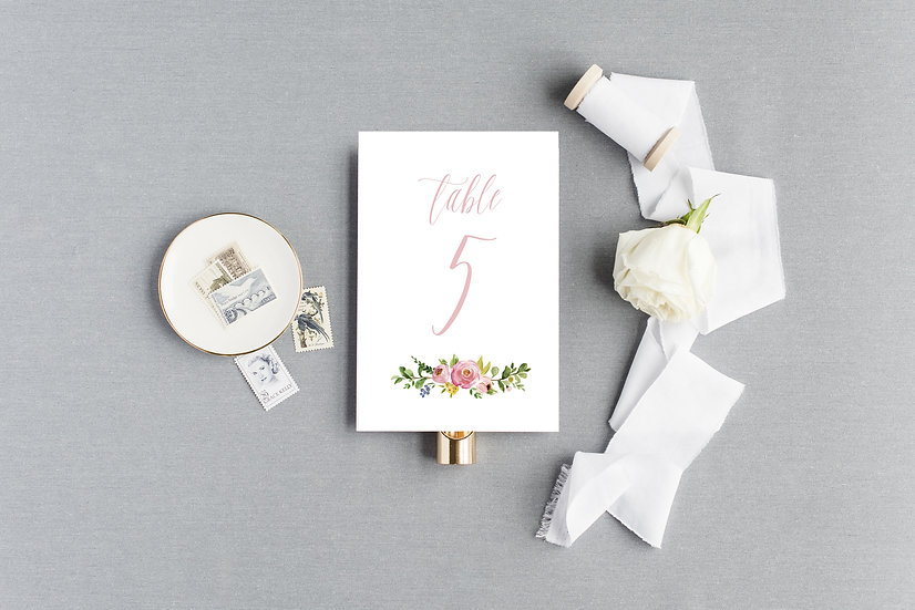 Painted Floral Table Numbers