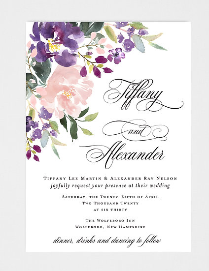 Blush Pink and Purple Wedding Invitation, Blush Pink Floral Wedding Invitation, Purple Floral Wedding Invitation