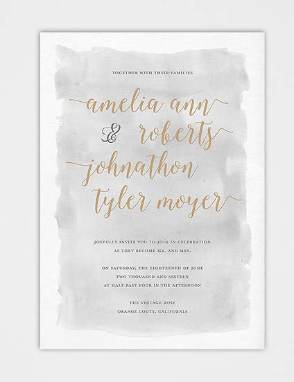 Watercolor Wedding Invitation, Gold and Gray Wedding Invitation, Calligraphy Wedding Invitation