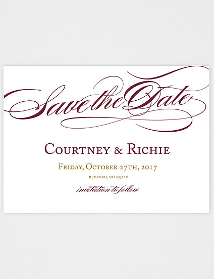 Classic Calligraphy Burgundy and Gold Save the Date