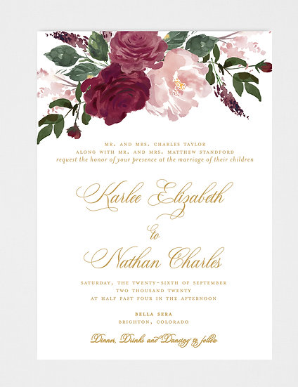 Blush Burgundy Floral Wedding Invitation, Blush Burgundy Gold Wedding Invitation