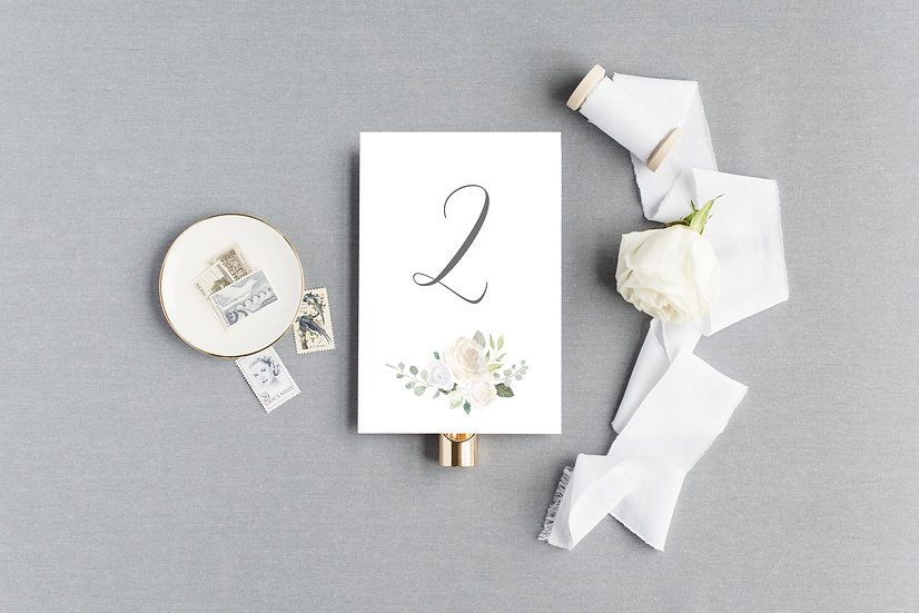 Ivory Watercolor Floral Table Numbers