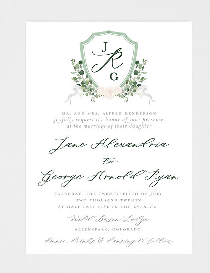 Sage Green Ivory Greenery Wedding Invitation, Wedding Invitation Crest, Wedding Monogram, Ivory Floral Wedding Invitation