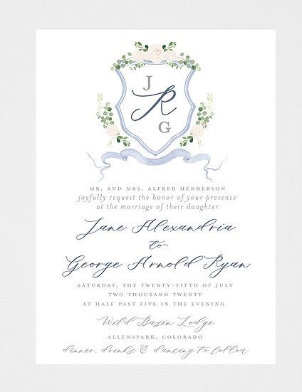 Blue Ivory Greenery Wedding Invitation, Wedding Invitation Crest, Wedding Monogram, Ivory Floral Wedding Invitation