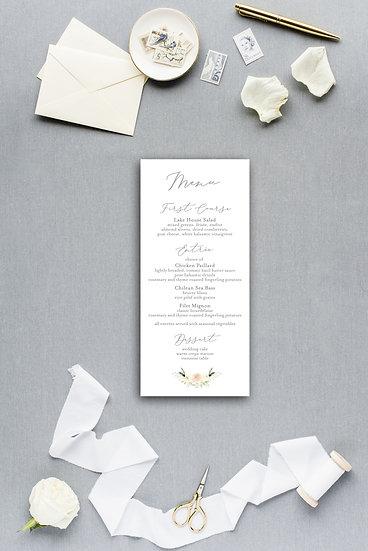 White Ivory Yellow Painted Watercolor Floral Dinner Menu Reception Menu Wedding Menu