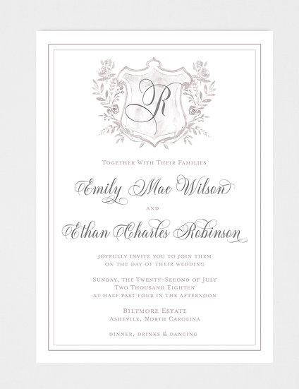 Crest Wedding Invitation, Monogram Wedding Invitation, Classic Wedding Invitation, Elegant Wedding Invitation
