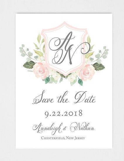 Wedding Crest Wedding Monogram Floral Crest Save the Date