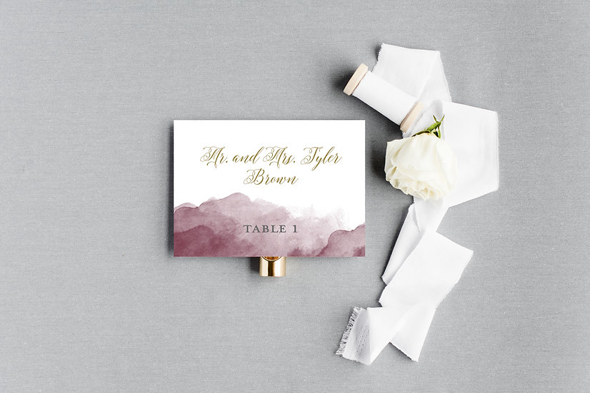 Gold Marsala Burgundy Watercolor Escort Cards Place Cards