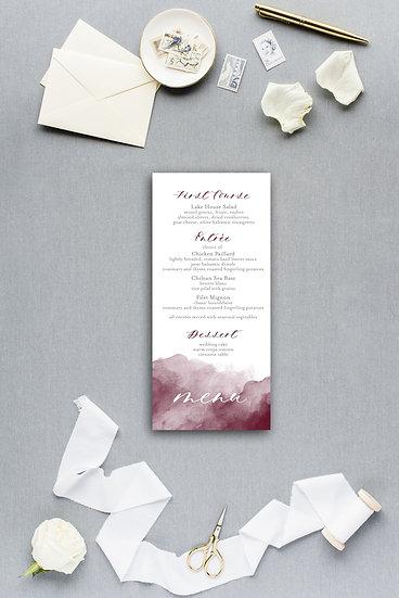 Calligraphy Maroon Burgundy Marsala Watercolor Dinner Menu Reception Menu Wedding Menu