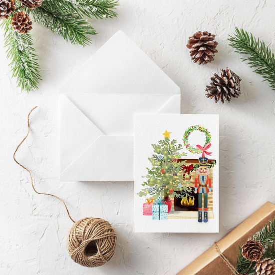Fireplace Scene Holiday Card Pack of 6