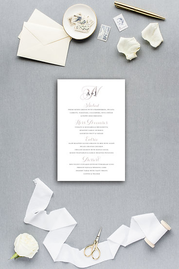 Wedding Monogram Pink Gray Dinner Menu Reception Menu Wedding Menu