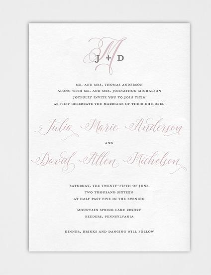 Blush and Gray Wedding Invitation, Calligraphy Wedding Invitation, Elegant Wedding Invitation, Monogram Wedding Invitation