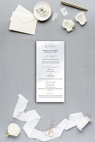 Blue Watercolor Dinner Menu Reception Menu Wedding Menu