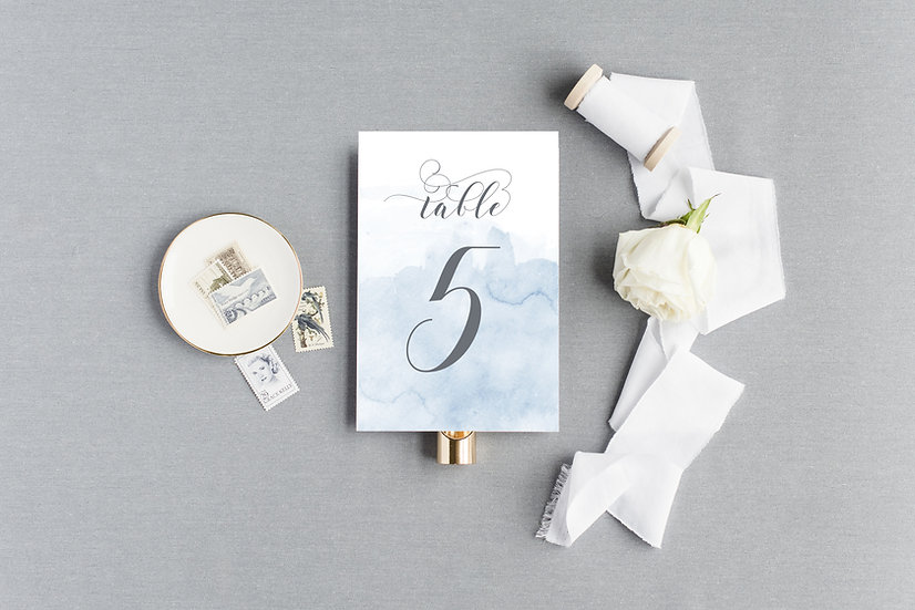Gray Blue Watercolor Table Numbers
