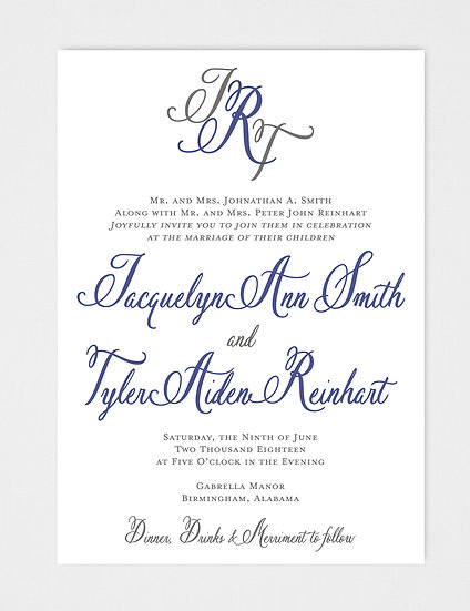 Calligraphy Wedding Invitation, Formal Wedding Invitation, Elegant Wedding Invitation