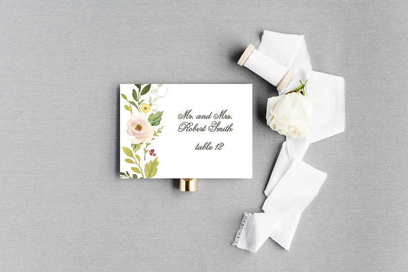 Blush Painted Watercolor Floral Escort Cards Place Cards