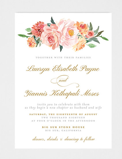 Blush Pink Peach Floral Wedding Invitation, Blush Pink Peach Gold Wedding Invitation