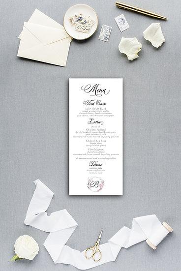 Wedding Monogram Wedding Crest Painted Watercolor Floral Dinner Menu Reception Menu Wedding Menu