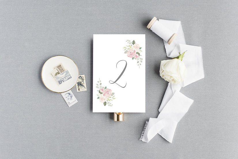 Blush Pink Watercolor Floral Table Numbers