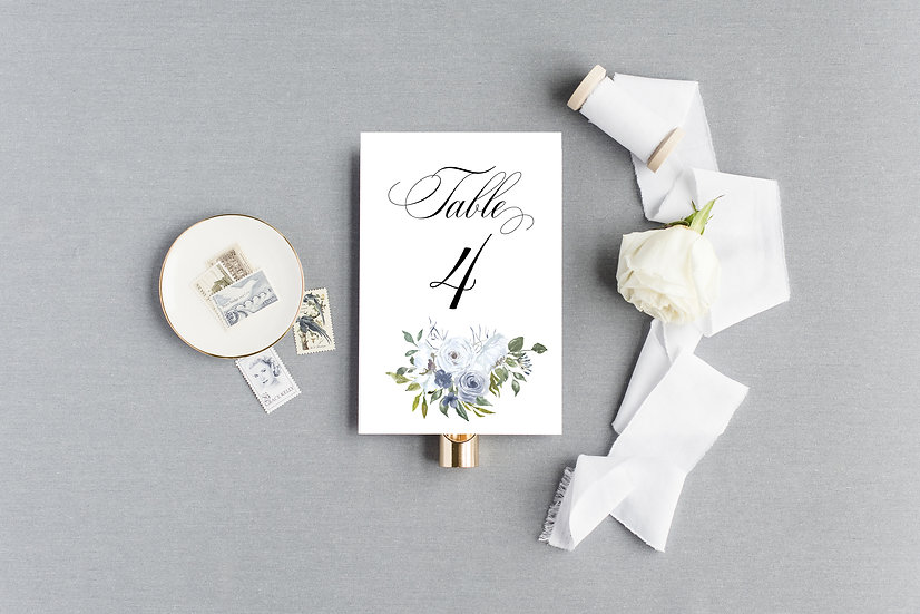 Blue Light Blue Painted Watercolor Floral Table Numbers