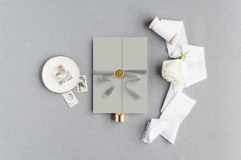 Invitation Pocket with Ribbon & Wax Seal