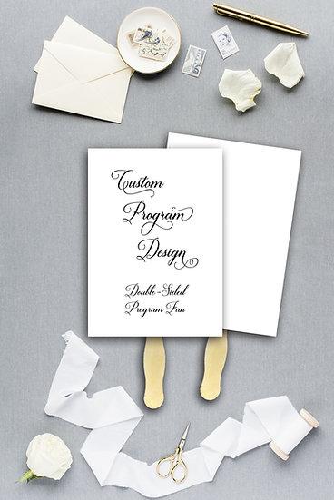 Custom Design Wedding Program Ceremony Program Fan